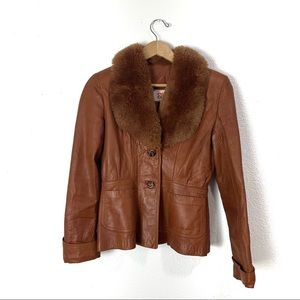 Vintage 1970s leather faux fur coat S